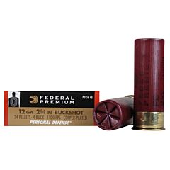 "Federal Premium Personal Defense 12 Gauge 2.75"" 34 Pellets #4 Buckshot 5 Rounds"