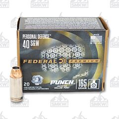 Federal Premium Personal Defense Punch 40 S&W 165 Grain Hollow Point 20 Rounds