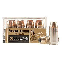 Federal Premium Personal Defense 45 ACP 165 Grain Hydra-Shok Jacketed Hollow Point 20 Rounds