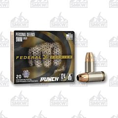 Federal Premium Punch 9mm Luger 124 gr Jacketed Hollow Point 20 Rounds