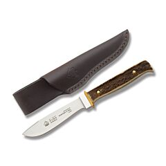 "Puma Germany Hunter's Pal Fixed Blade with Genuine Stag Handles and Stainless Steel 4.125"" Drop Point Plain Edge Blades Model 116397"
