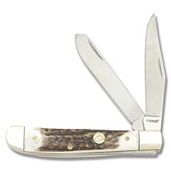 "Puma Knives SGB Grand Trapper 3.9"" with Stag Antler Handle and Satin Finish 1.41116 Steel Blades"