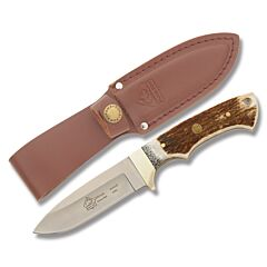 "Puma SGB Coyote Fixed Blade Knife with Stag Handle and Satin Finish 1.4116 German Steel 3.5"" Drop Point Blade Model 6540040"