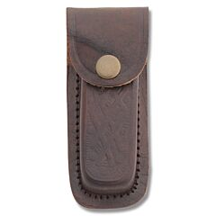 "Leather Sheath Fits Folding Knives Up To  4"" Closed - Brown Basketweave"