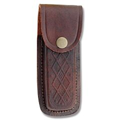 "Leather Sheath Fits Folding Knives Up To 5"" Closed - Brown Scrolled"