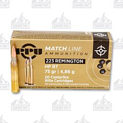 PPU Match Ammo 223 Remington 75 Grain Holow Point Boat Tail 20 Rounds