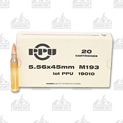 PPU USA Ammo Mil-Spec M193 5.56x45mm 55 Grain Full Metal Jacket Boat Tail 20 Rounds
