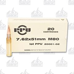 PPU USA Ammo M80 7.62x51mm 145 Grain Full Metal Jacket Boat Tail 20 Rounds
