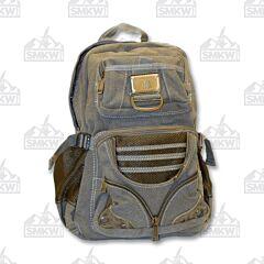 Prairie Schooner Green Canvas and Mesh Backpack