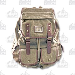 Prairie Schooner Green Canvas Backpack with Outer Pockets