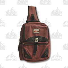Prairie Schooner Burgundy Canvas Sling Bag