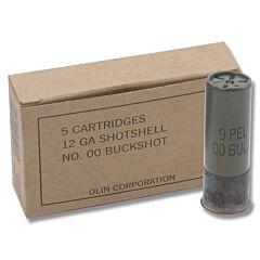 """Winchester Military Grade 12 Gauge 2.75"""" Buckshot 9 Pellets 00 Buck 5 Rounds"""