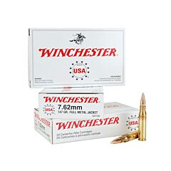 Winchester USA 7.62x51mm NATO 147 Grain Full Metal Jacket 20 Rounds