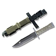 "Ontario M9 Bayonet with Green Thermoplastic Handle and Black Zinc Phosphate Coated 420 Stainless Steel 7"" Clip Point Plain Edge Blade with Black Glass Filled Nylon Sheath Model 6220"