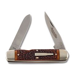 "Remington 1985 The Woodsman Bullet Knife 4.25"" with Brown Jigged Delrin Handles and 440 Stainless Steel Plain Edge Blades"