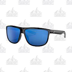 Costa Rincondo Shiny Black Sunglasses Blue Mirror