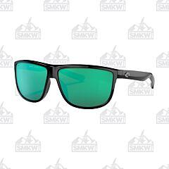 Costa Rincondo Shiny Black Sunglasses Green Mirror