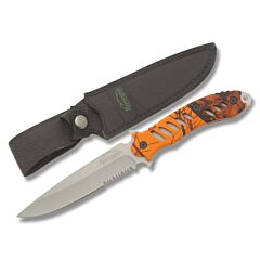 """Remington F.A.S.T. Fixed Blade with Blaze Orange Mossy Oak Rubber Coated Handle and 440 Stainless Steel 5.50"""" Clip Point Partially Serrated  Blade and Nylon Sheath Model 19762"""