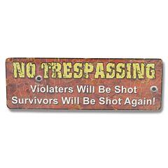 "Rivers Edge ""No Trespassing"" Tin Sign Model 1406"