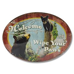 Welcome Wipe Your Paws Oval Tin Sign