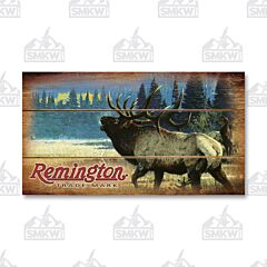 Remington Bugling Elk Wood Sign