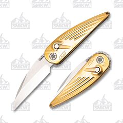 Rat Worx Polished Brass Chief Chain Drive CPM-154 Blade Stainless Steel Handle
