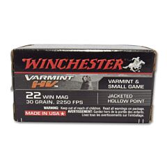 Winchester Supreme Varmint HV 22 Winchester Magnum Rimfire 30 Grain Jacketed Hollow Point 50 Rounds