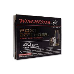 Winchester PDX1 Defender 40 S&W 165 Grain Bonded Jacketed Hollow Point 20 Rounds