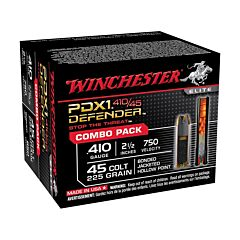 "Winchester PDXI Defender Combo Pack 45 Colt 225 Grain Jacketed Hollow Point and 410 Bore 2.50"" 3"" Over 1/4 oz BB Shot 20 Rounds"