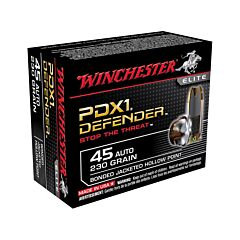 Winchester PDXI Defender 45 ACP 230 Grain Bonded Jacketed Hollow Point 20 Rounds