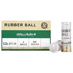 "Sellier & Bellot  Rubber ball 12 Gauge 2-5/8"" 15mm Double Rubber Balls 25 Rounds"