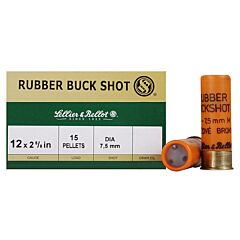"Sellier & Bellot 12 Gauge 2-5/8"" 7.5mm Rubber Buckshot 15 Pellets 25 Rounds"
