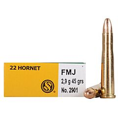 Sellier & Bellot 22 Hornet 45 Grain Full Metal Jacket 20 Rounds