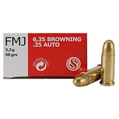 Sellier & Bellot 25 ACP 50 Grain Full Metal Jacket 50 Rounds