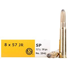 Sellier & Bellot 8x57mm JR Rimmed Mauser Semi-Jacketed Soft Point 20 Rounds