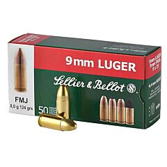 Sellier & Bellot 9mm Luger 115 Grain Full Metal Jacket 50 Rounds