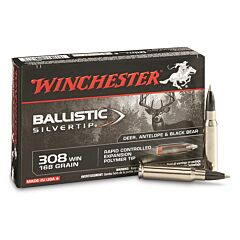 Winchester Ballistic Silvertip 308 Winchester 168 Grain Rapid Controlled Expansion Polymer Tip 20 Rounds