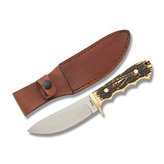 "Schrade Uncle Henry Elk Hunter Skinner with Staglon Handles and 7Cr17MoV High Carbon Stainless Steel 4.50"" Skinner Plain Edge Blade Model 183UH"