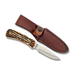 """Schrade Uncle Henry Caping Knife with Staglon Handle and 7Cr17MoV High Carbon Stainless Steel 3.125"""" Caping Blade with Leather Belt Sheath Model SC301UH"""