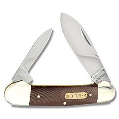 "Schrade Old Timer Canoe 3.625"" with Brown Sawcut OT Compostion Handle and 7Cr17MoV High Carbon Stainless Steel Plain Edge Blades Model 11OT"