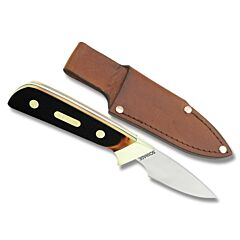 "Schrade Old Timer Little Finger with Brown Sawcut OT Composition Handle and 7Cr17MoV High Carbon Stainless Steel 2.75"" Drop Point Plain Edge Blade and Leather Belt Sheath Model 156OT"