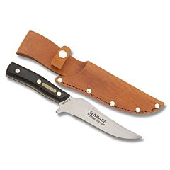 "Schrade Old Timer Deerslayer with Brown Sawcut OT Composition Handle and 7Cr17MoV High Carbon Stainless Steel 6"" Clip Point Skinner Plain Edge Blade and Leather Belt Sheath Model 15OT"