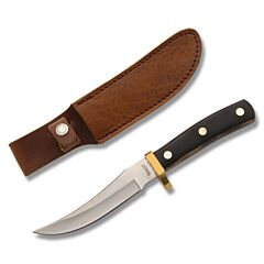 "Schrade Old Timer Mountain Lion with Brown Sawcut OT Composition Handle and 7Cr17moV High Carbon Stainless Steel 5"" Clip Point Plain Edge Blade and Leather Belt Sheath Model 160OT"