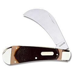 "Schrade Old Timer Hawkbill 4"" with Brown Sawcut OT Composition Handle and 7Cr17MoV High Carbon Stainless Steel Plain Edge Blades Model 16OT"