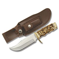 "Schrade Uncle Henry Pro Hunter with Staglon Handle and 7Cr17MoV High Carbon Stainless Steel 5.50"" Clip Point Plain Edge Blade and Leather Belt Sheath Model 171UH"