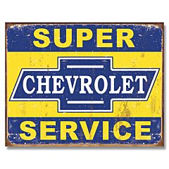 Desperate Enterprises Chevrolet Super Service Tin Sign