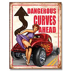 Legends Dangerous Curves Tin Sign
