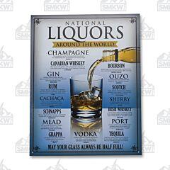 National Liquors Around the World Tin Sign
