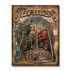 Farmers Backbone of America Tin Sign