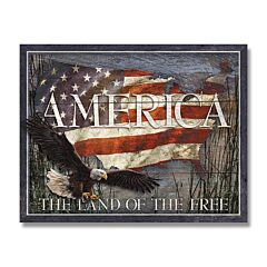 America Land of the Free Tin Sign